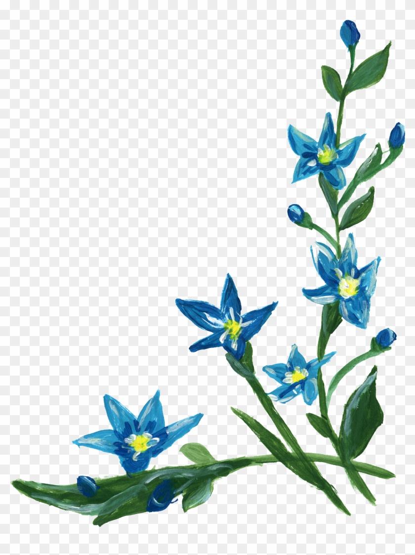 Flower Clip Art - Blue Flowers Corners Clipart #290328