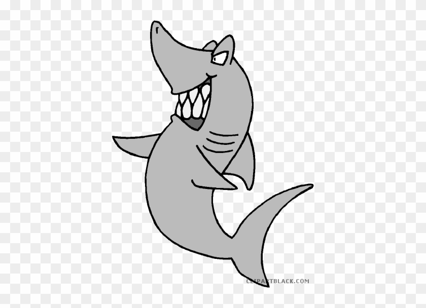 Grey Shark Animal Free Black White Clipart Images Clipartblack - Cartoon Angry Shark Transparent #290451