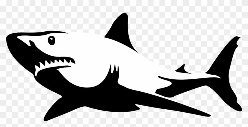 Shark Jaws Sea Fish Ocean White Shark Shar - Black And White Shark #290579