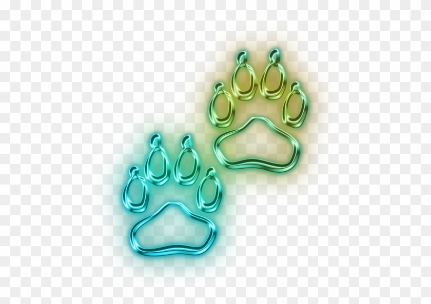 Neon Clipart Dog Paw - Blue And Green Paw Print #290741