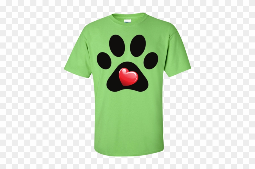 """my Heart"" Paw Print Tee - Gildan Orchid Shirt #290812"