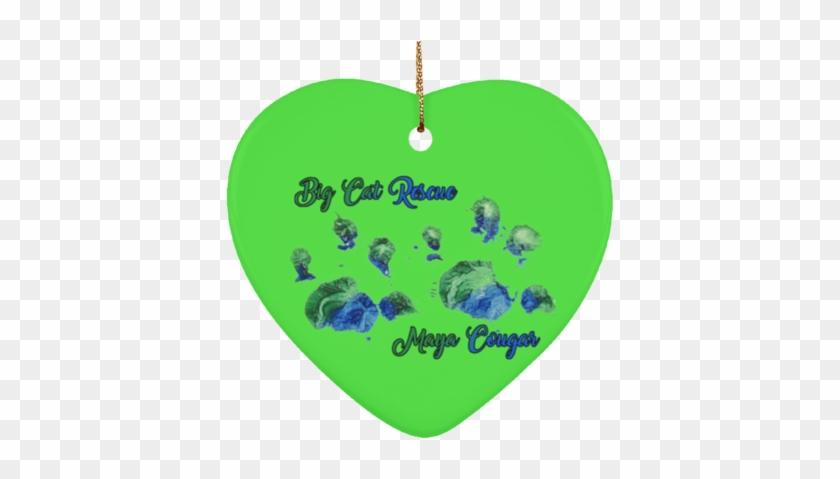 Maya Cougar Paw Print Subornh Ceramic Heart Ornament - Ceramic #290821