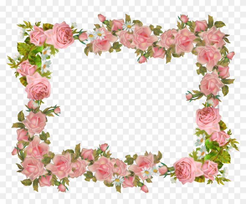 Free Digital Vintage Rose Frame And Scrapbooking Paper - Vintage Flower Frame Png #290952