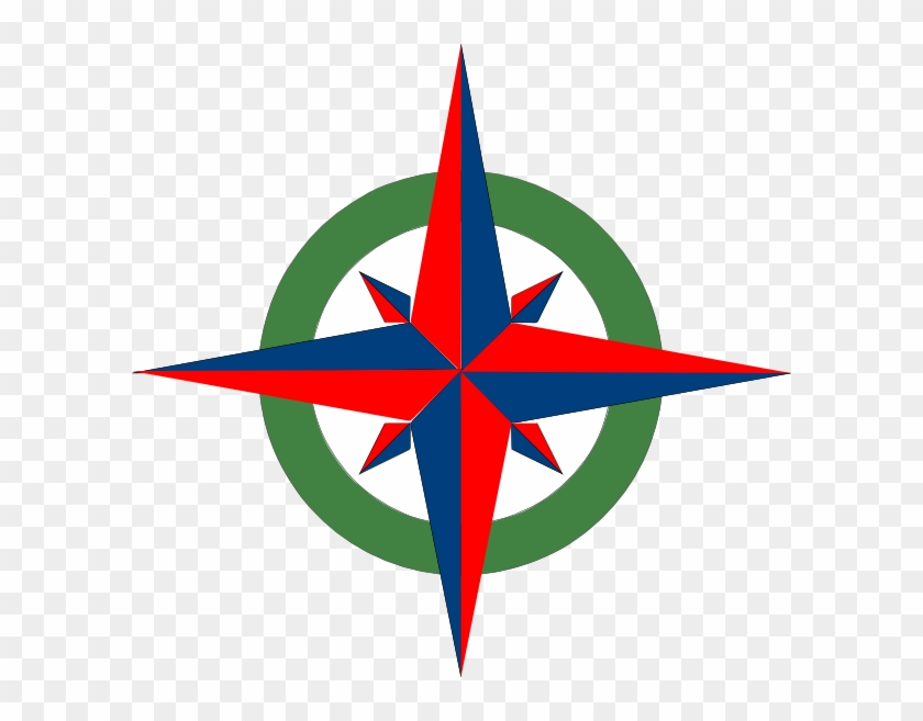 Compass Rose Red Blue Green Clip Art - Compass Rose With Color #290963