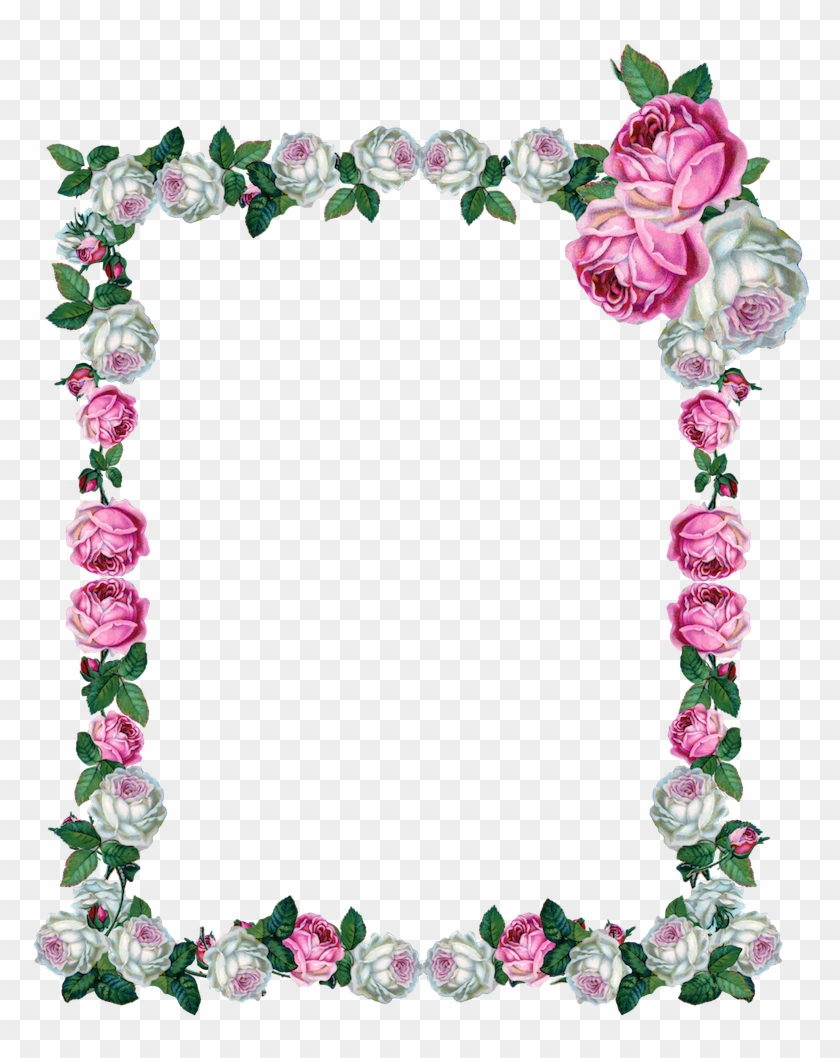 Free Digital Vintage Rose Frame Png - Rose Frame Transparent #290974