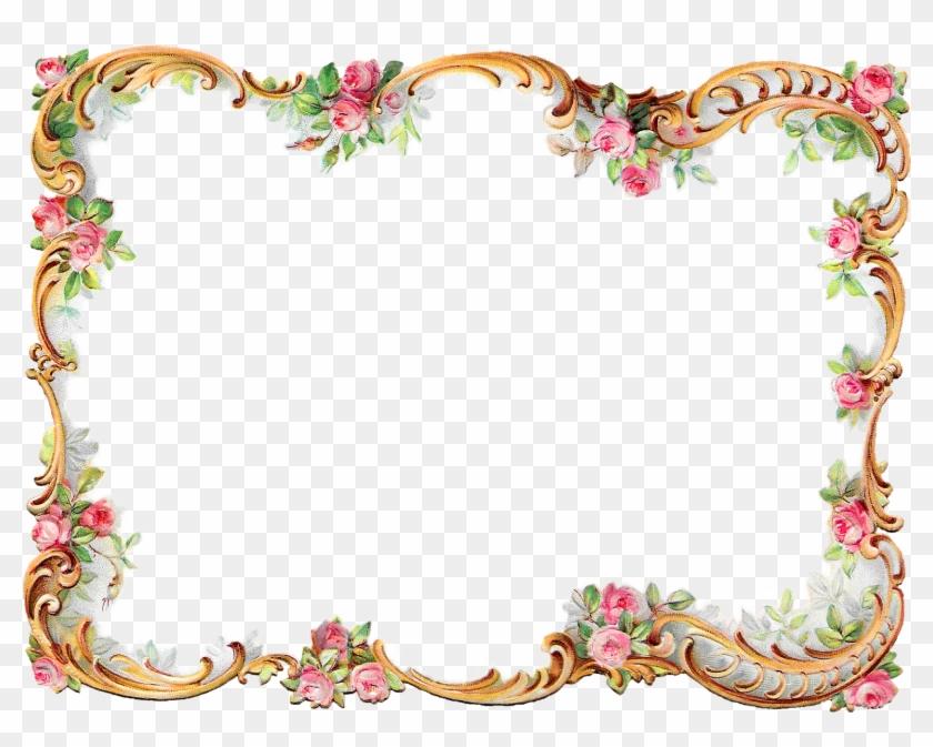 Antique Frame Border Png - Flower Frame Border #290983