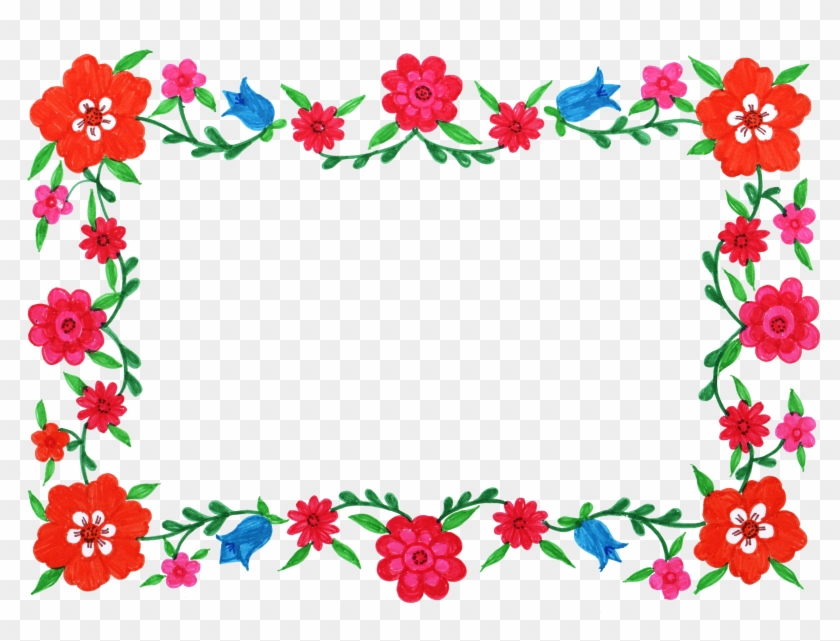 6 Flower Frame Colorful Rectangle - Frame Flowers Png Rectangle #291018