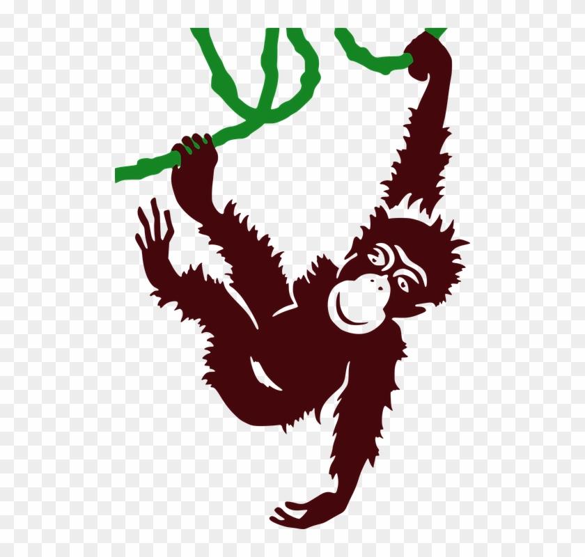 Hanging Sloth Public Domain Vectors - Hanging Gorilla Clipart #291238