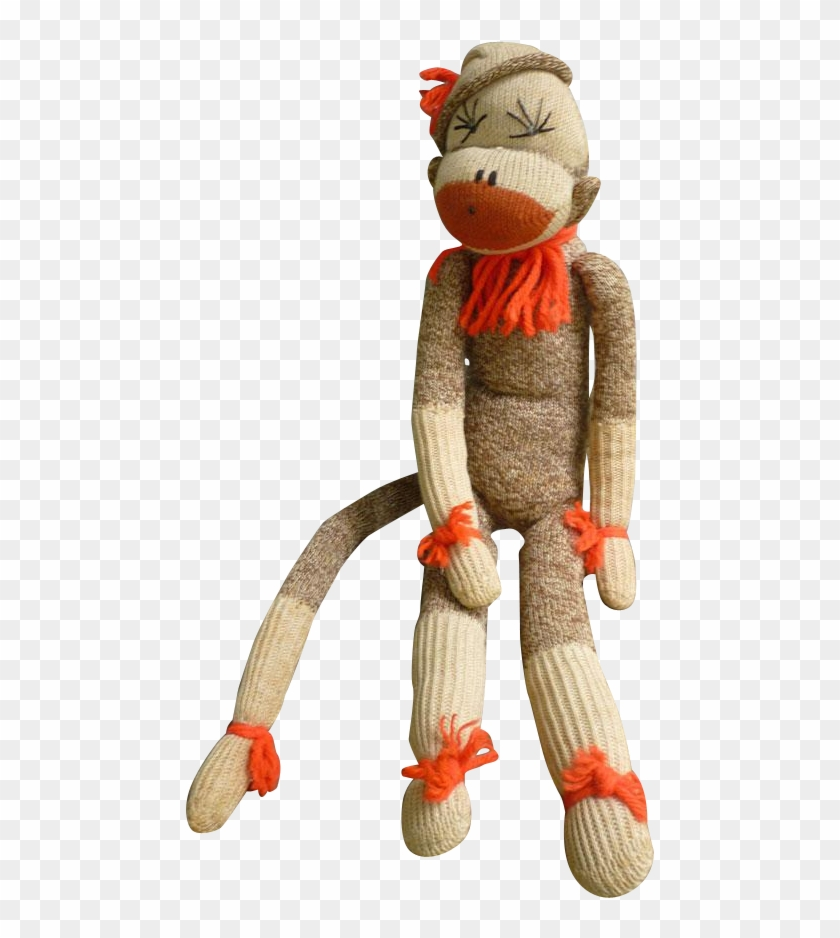 Vintage Hand Made Rockford Red Heel Sock Monkey Tina - Stuffed Toy #291271