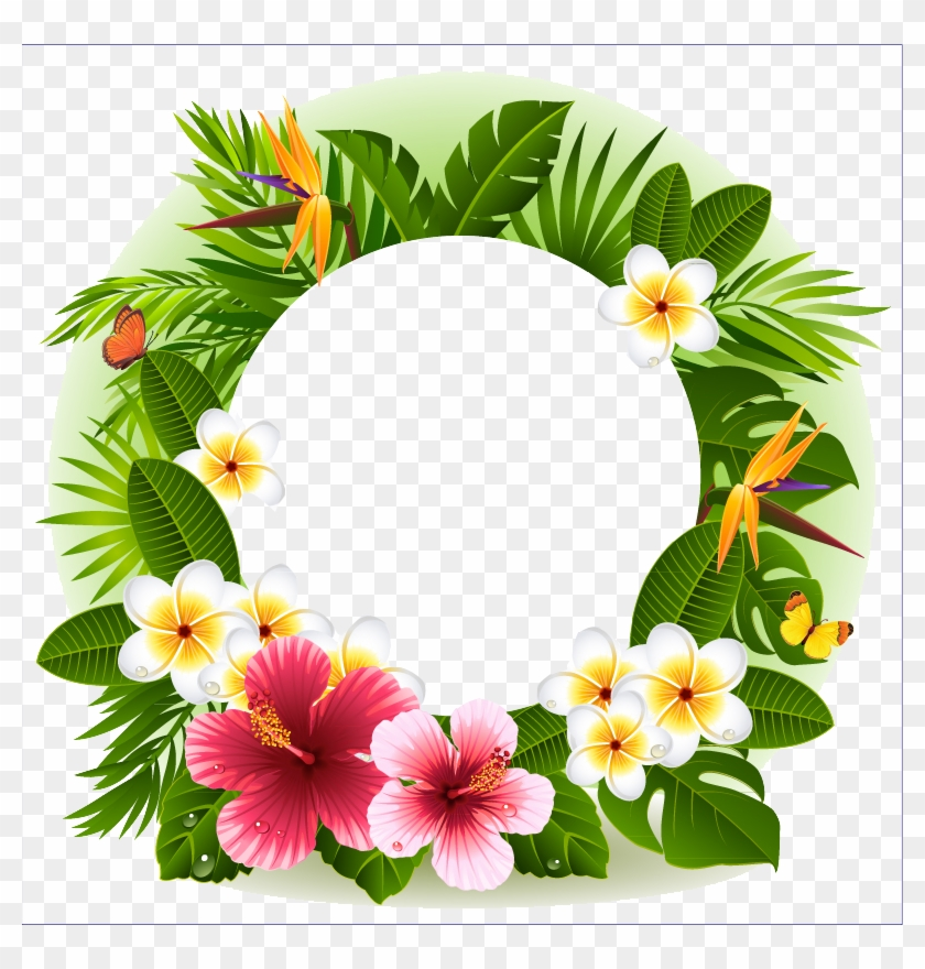 Tropical Flower Decorative Borders - Tropical Flower Frame Png #291364