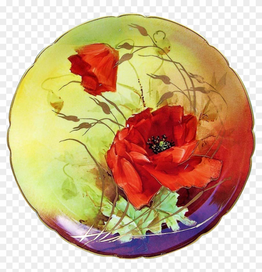 Gorgeous J - P - L - France Limoges 1900's Hand Painted - Poppy #291415