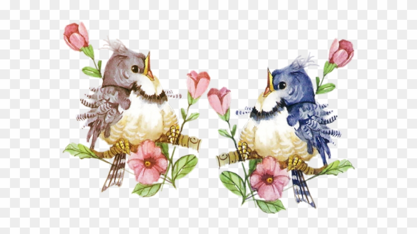 2 Little Birds On Branches Clip Art - Tube Oiseaux Png #291440
