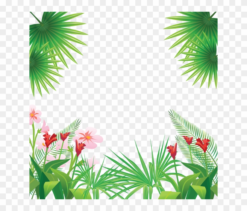 Tropical Leaves Flowers Frame, Tropical, Flowers Png - Tropical Flowers Png #291468