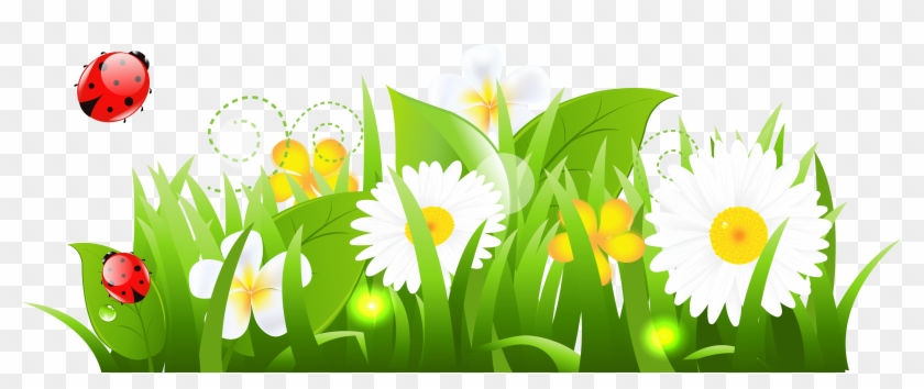 May Clip Art - Grass And Flowers Clipart #291513