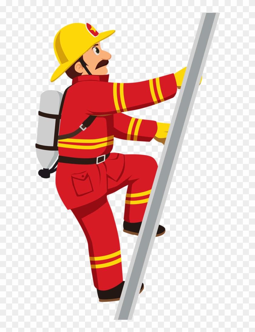 Fireman Profiss Es Of Cios Clip Art - Firefighter Climbing Ladder Clipart #291510
