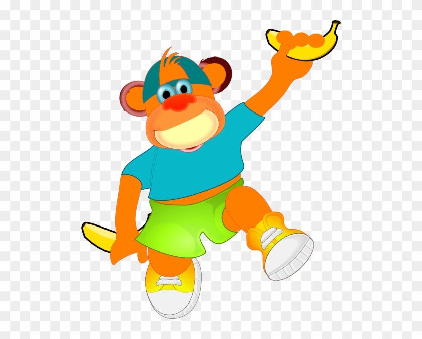 Monkey Holding Banana Clip Art At Clker - Clip Art #291529
