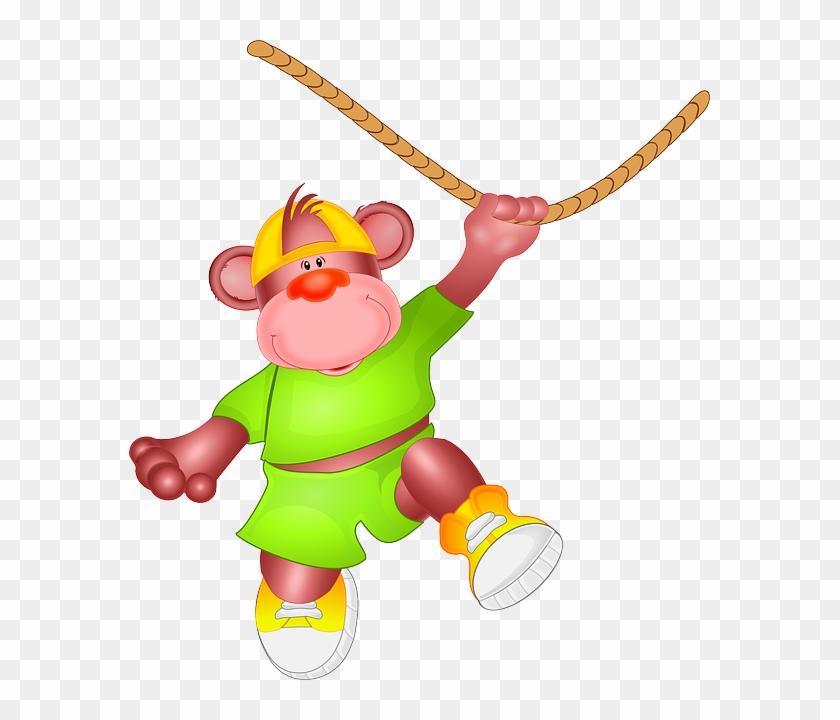 Ape, Animal, Hang, Loop, Swinging, Zoo, Fun - Custom Cartoon Monkey Shower Curtain #291538