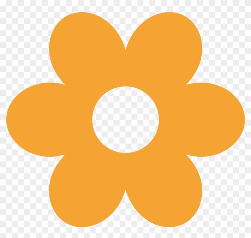 Orange Flower Clipart Simple Flower - Flores Minus Png #291643