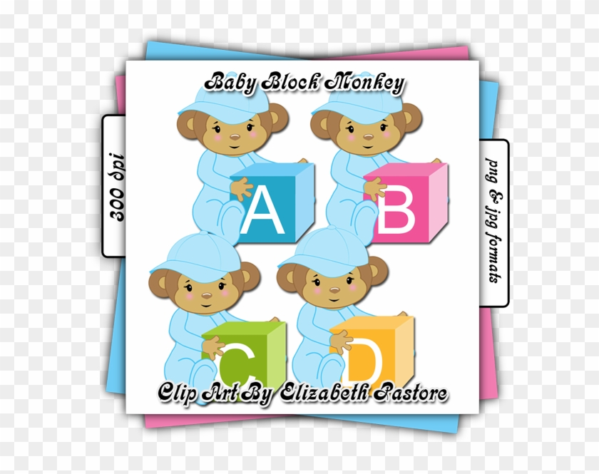Cute Baby Monkey In Blue Clip Art Collection - Clip Art #291648
