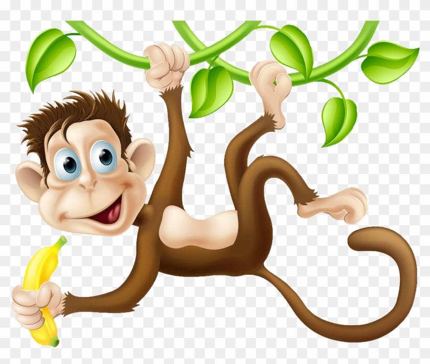 Chimpanzee Monkey Cartoon Clip Art - Monkeys Swinging In The Tree #291655