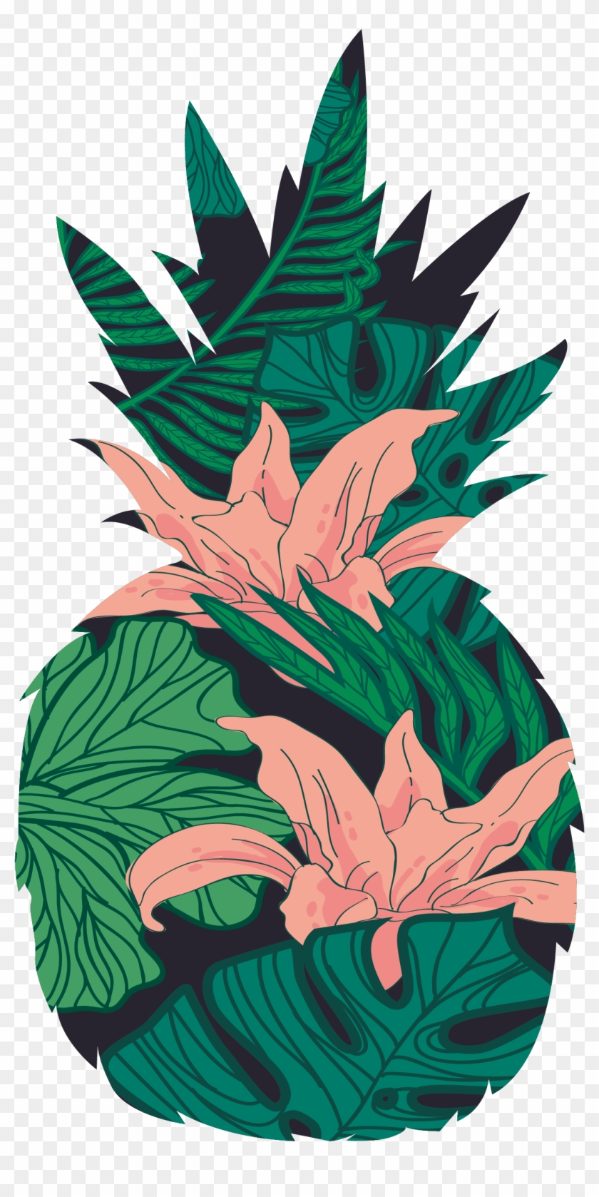 Tropical Flower Pineapple Pattern - Tropical Illustration Png #291708