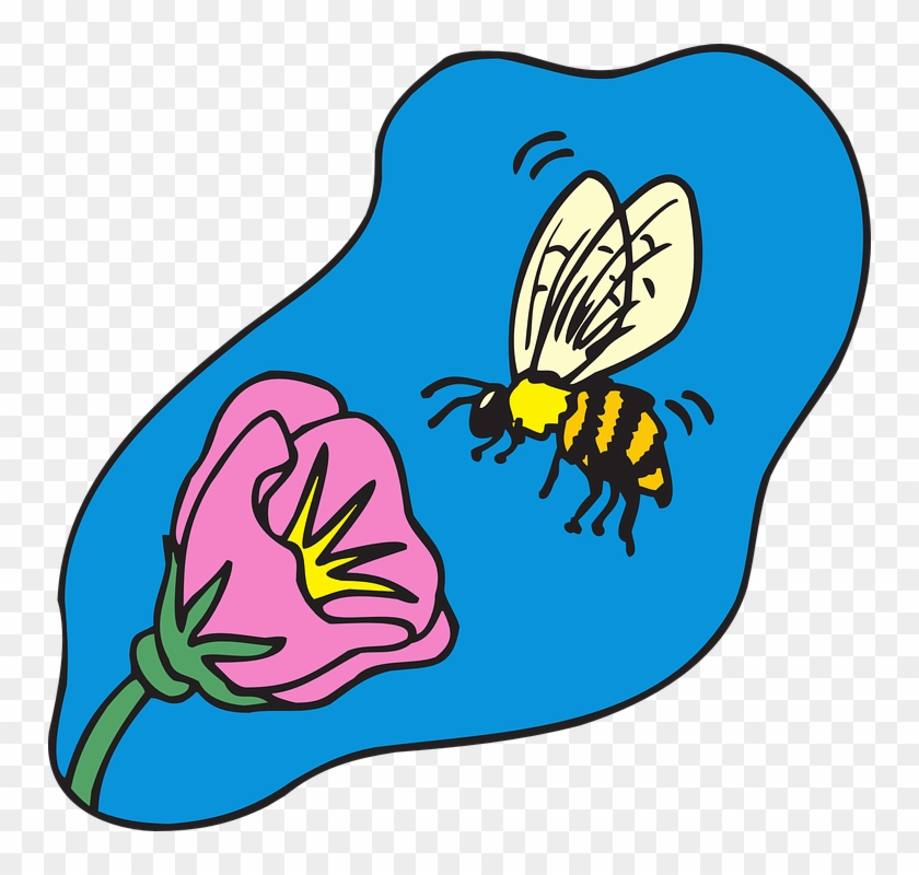 With Flower, Cartoon, Bee, Flying, Plant, Insect, With - Cartoon Bee On Flower #291846