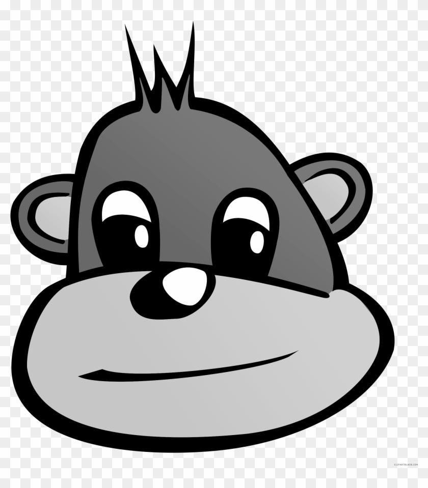 Monkey Face Animal Free Black White Clipart Images - Cartoon Monkey Head #291954