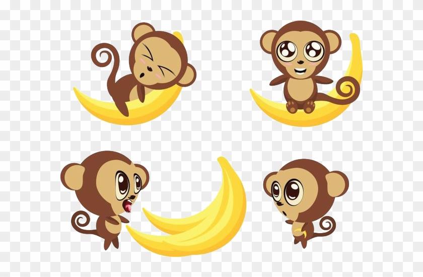 Ape Monkey Banana Cartoon - Ape Monkey Banana Cartoon #292035