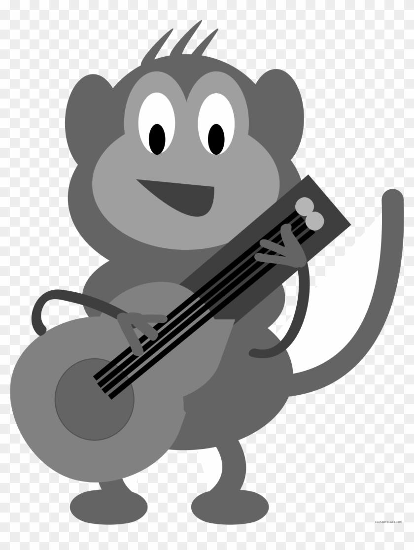 Monkey Animal Free Black White Clipart Images Clipartblack - Custom Monkey Playing Guitar Shower Curtain #292006