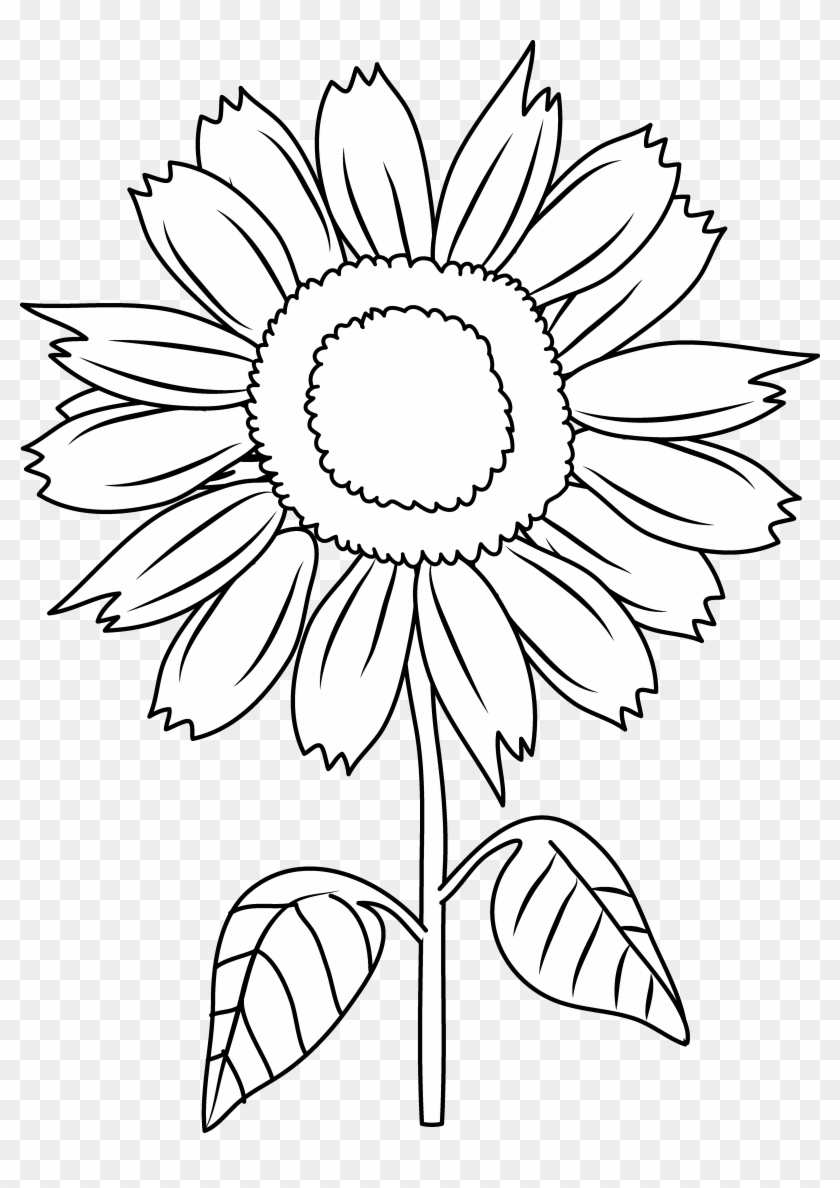 Pretty Sunflower Coloring Page - Sun Flower In Cartoon - Free ...