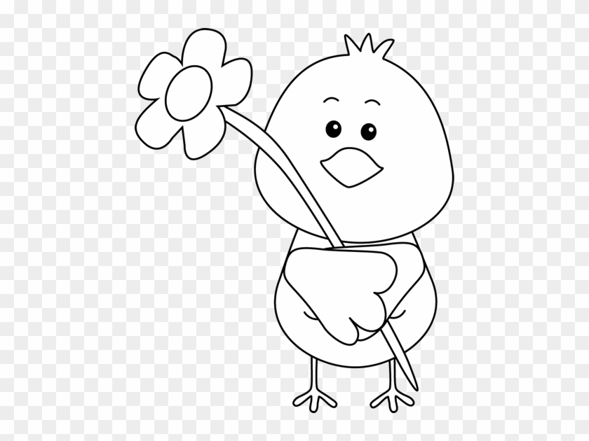 Black And White Bird And A Flower Clip Art - Free Black And White Bird #292171