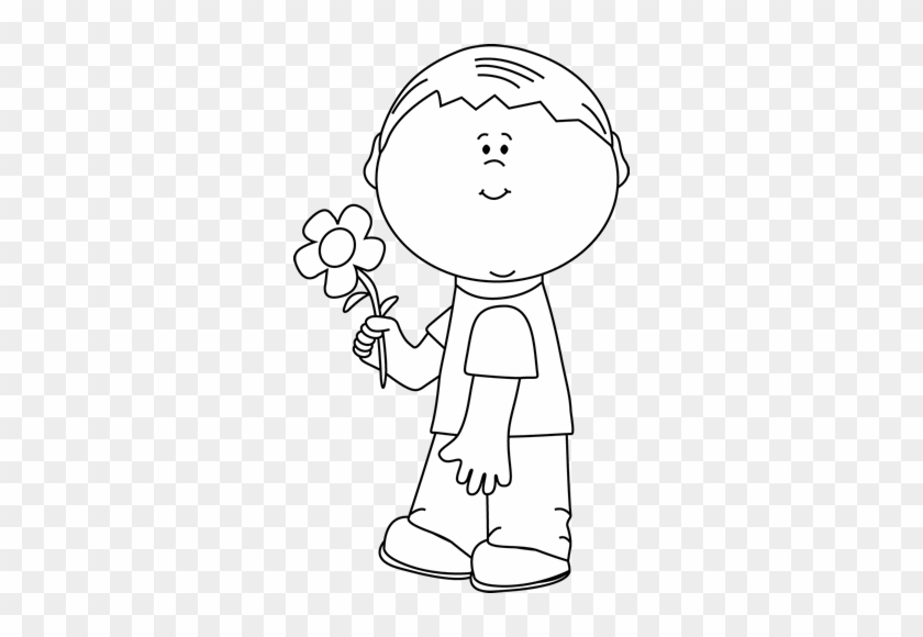 Black And White Boy Holding A Flower - Artist Clipart Black And White #292225
