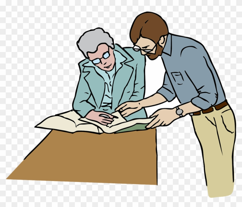 Clip Art Of Teacher Going Over Papers With A Student - Working In Office Clip Art #292230