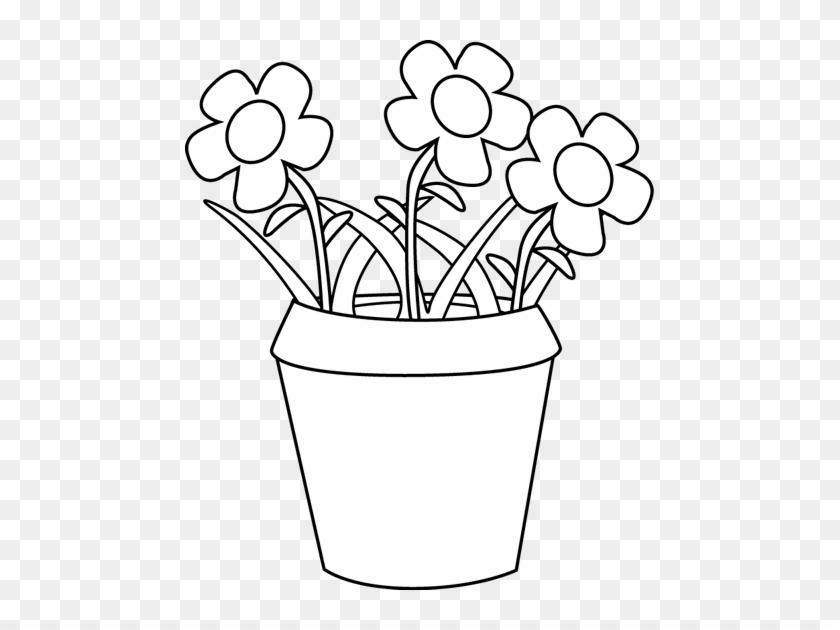 Flower Pot Clipart Black And White - Outline Image Of Flower Pot #292236