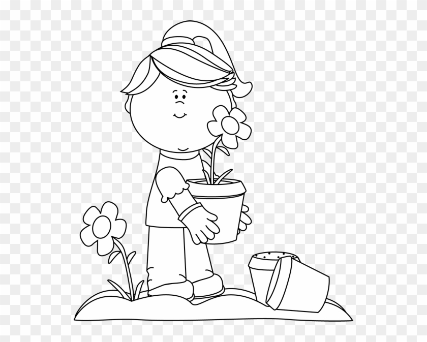 Black And White Girl Planting Flowers Clip Art Black - Plant Flowers Black And White Clipart #292252