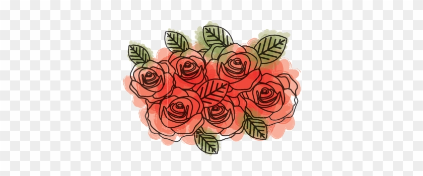 Watercolor Drawing Of Roses Bouquet Decorative Design - Drawing #292380