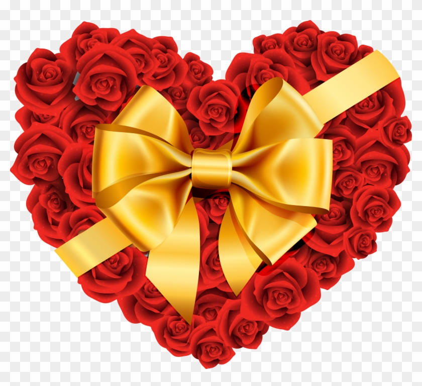 Heart Flowers Clip Art - Rose And Heart Png #292384