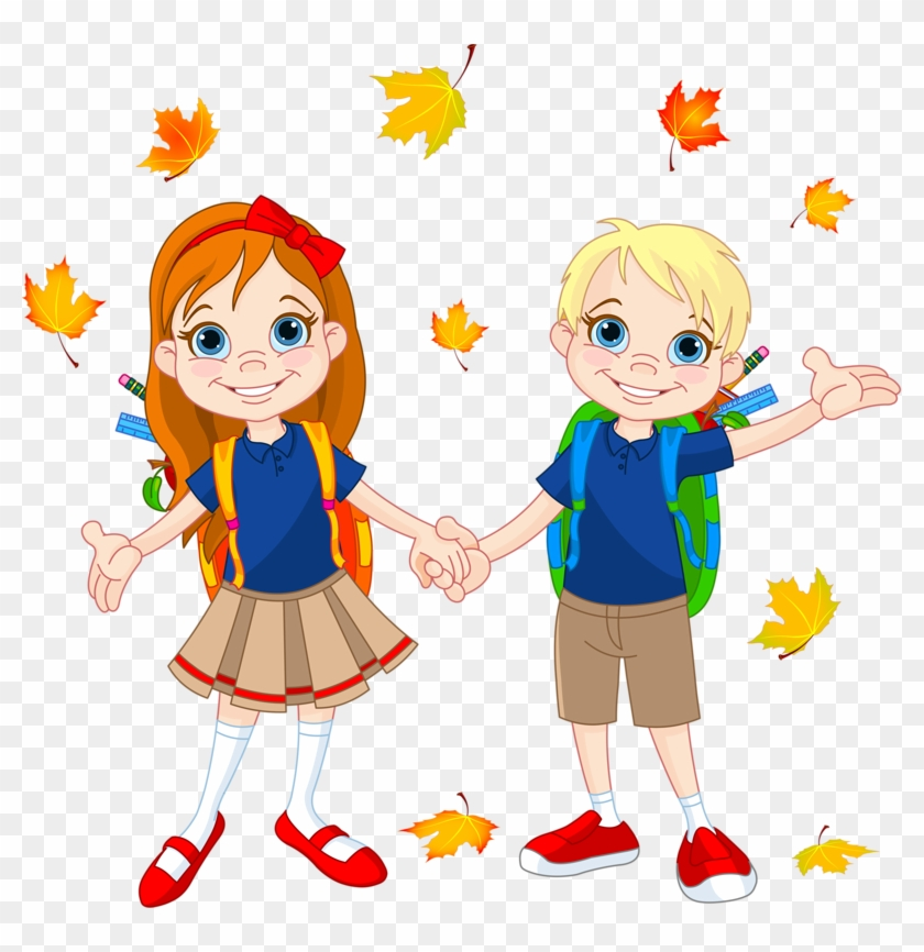 Clip Art - School Boy And Girl Drawing #292624