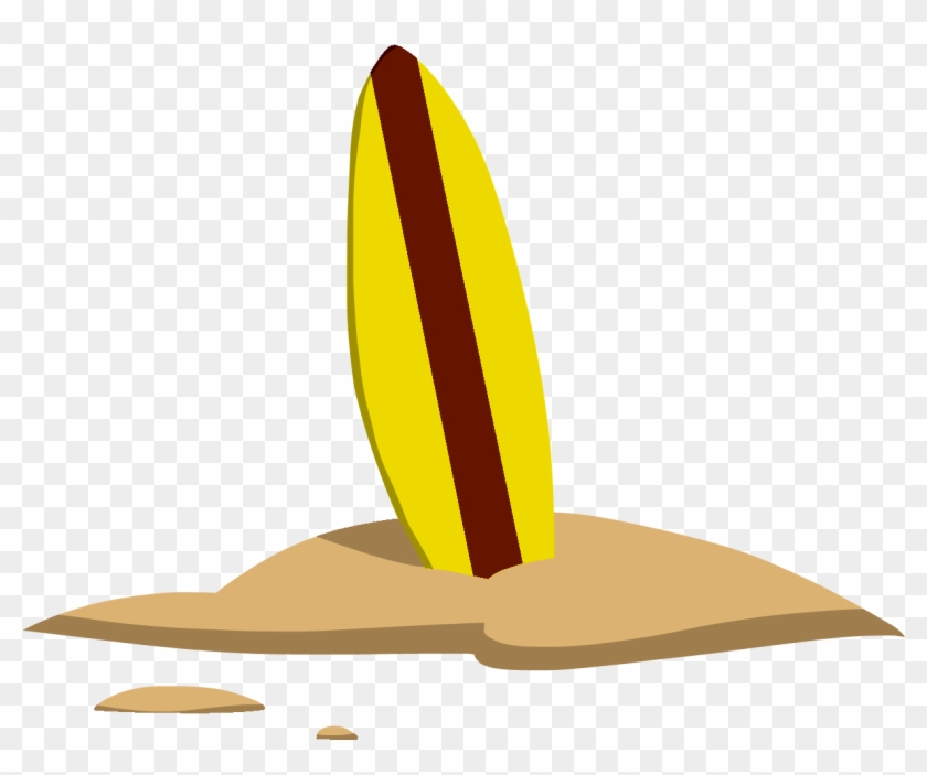 Inspiring Surfboard Pictures Clip Art Medium Size - Surfboard In Sand Clipart #292642