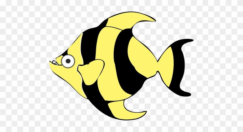 Black Cartoon Fish Sea Stripes Tropical Ye - Tropical Fish Shower Curtain #292941