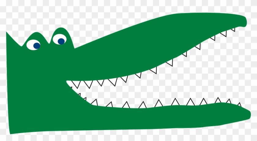 Crocodile Lizard Eyes Green Mouth Sharp Da - Crocodile Cartoon Mouth Open #293346