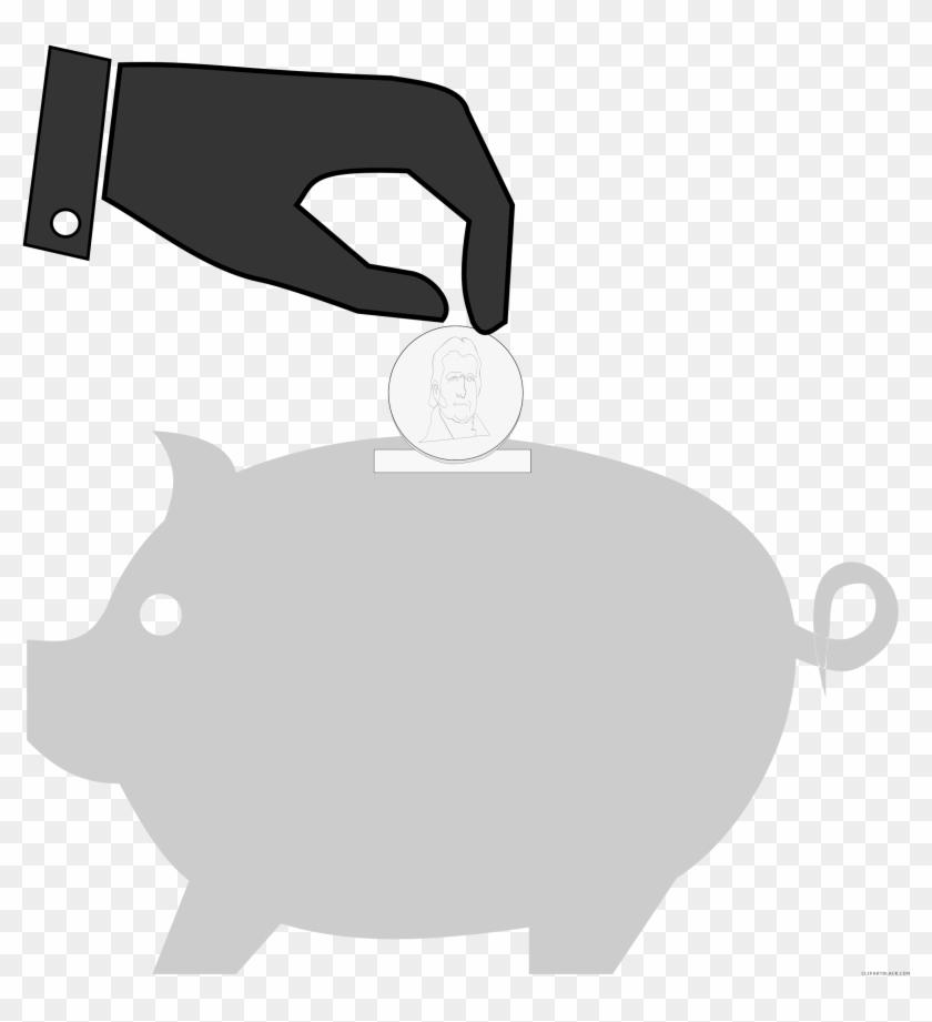 Piggy Bank Animal Free Black White Clipart Images Clipartblack