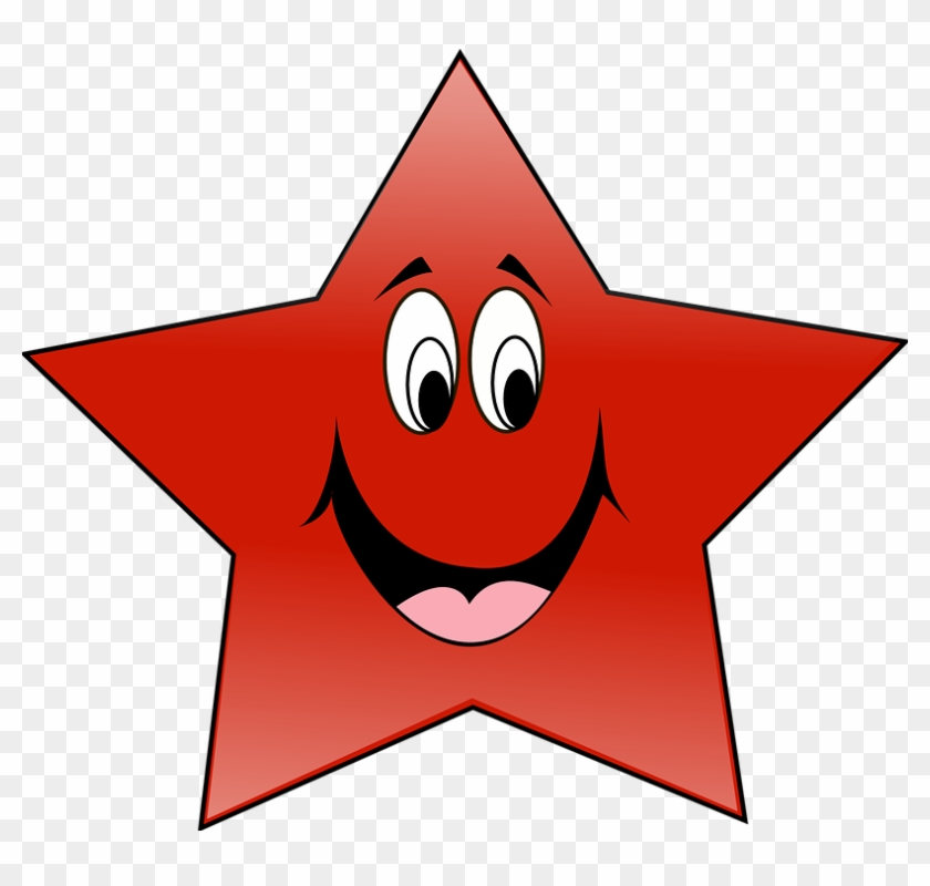 Star, Laughing, Laugh, Tattoos, Funny, Smiling, Smile - Smiling Red Star Shower Curtain #293749