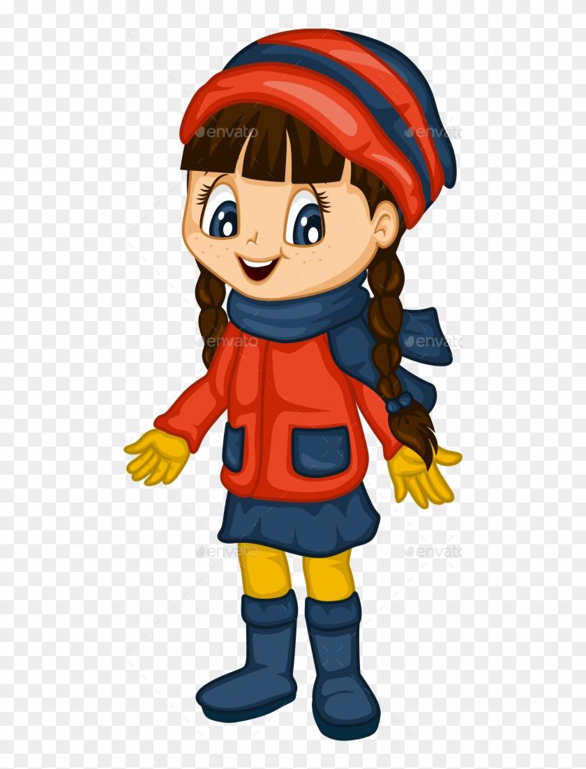 Cute Little Girl For 4 Seasons - Cartoon Girl Winter Transparent #295269