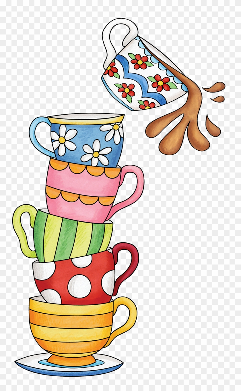 Cups, Tea, Watercolor, Spill, Cute, Stack, Colorful - Stacked Tea Cup Clip Art #295355