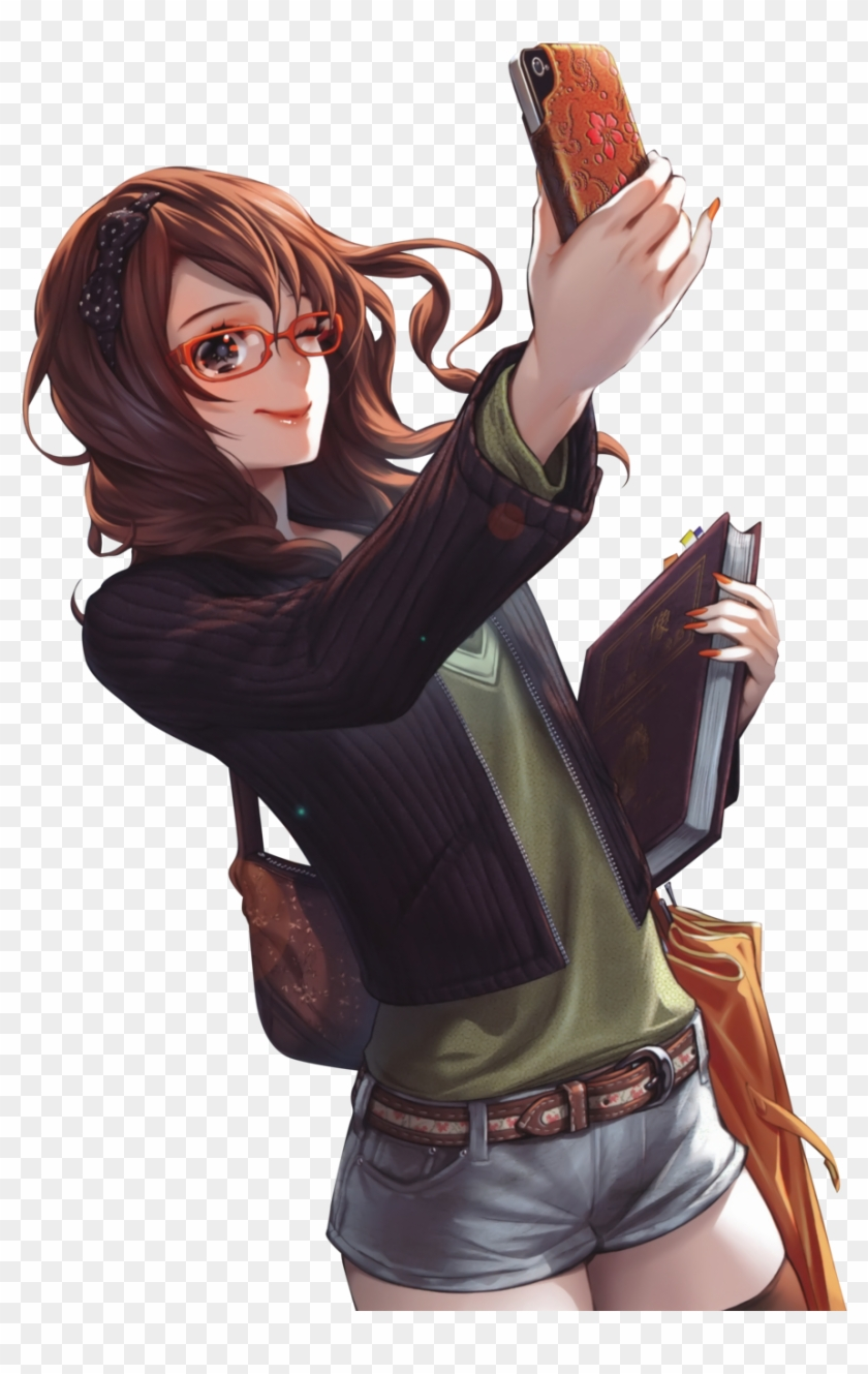 Brunette manga girl with glasses anime girl with phone 295470