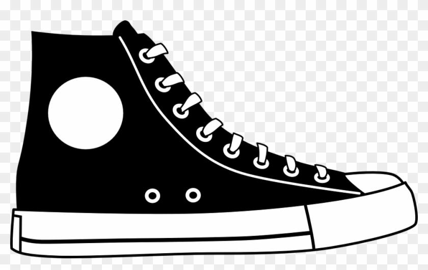 Black Hightop Shoe Clip Art At Clker - Cartoon High Top Converse ...