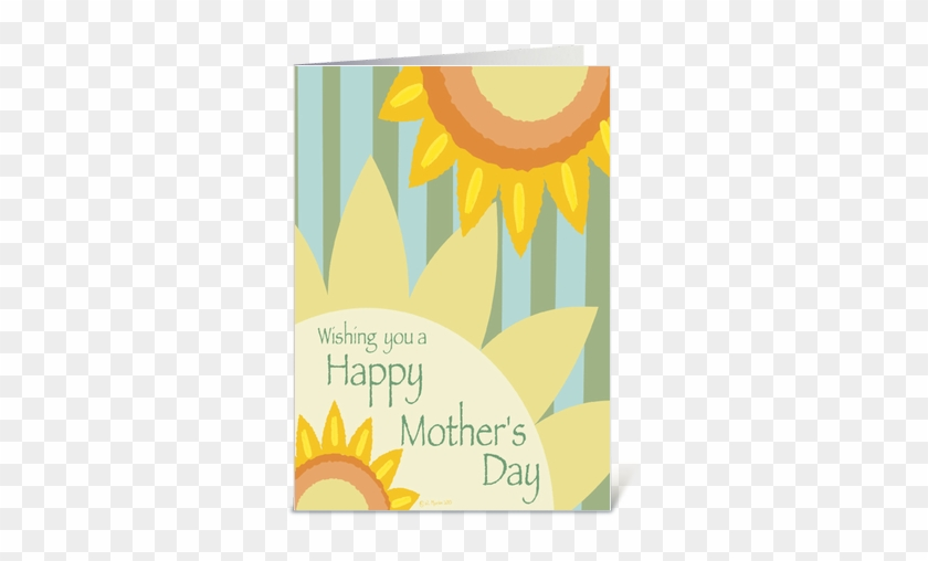 Happy Mothers Day With Sunflowers And Butterflies Background - Mother's Day Card - Sunflowers Flowers Card #297006