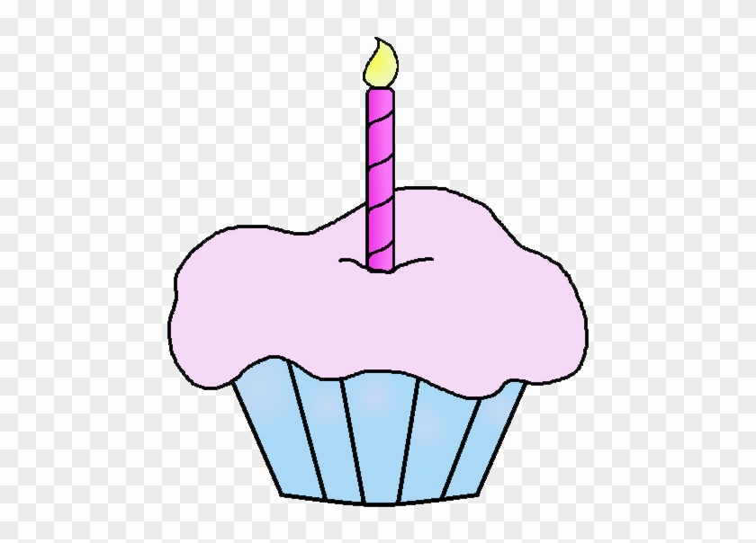 Birthday Girl Cupcake With Candle Clip Art #297080