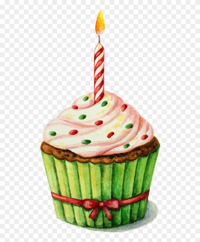 Birthday Cake Watercolor Painting Clip Art
